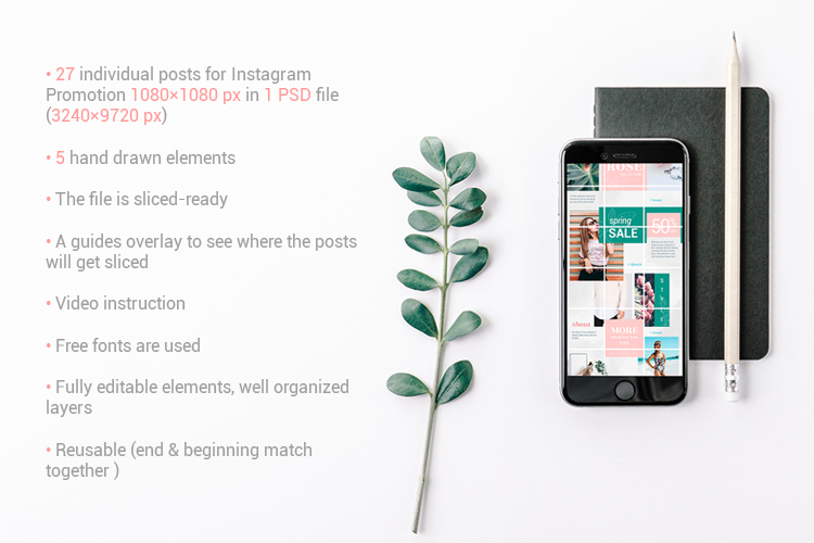 Instagram Puzzle Template - Rose example image 5
