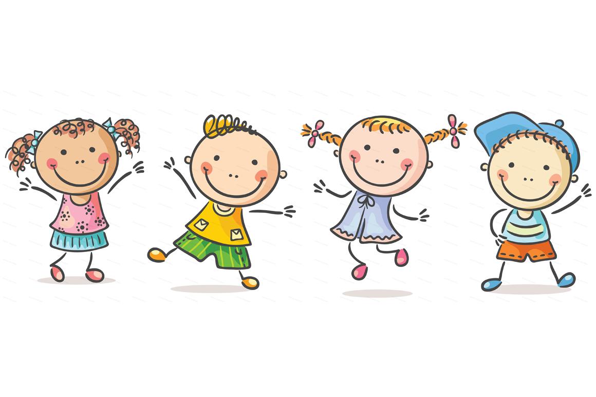 Happy Cartoon Kids Bundle, children doodle, kids doodle example image 4
