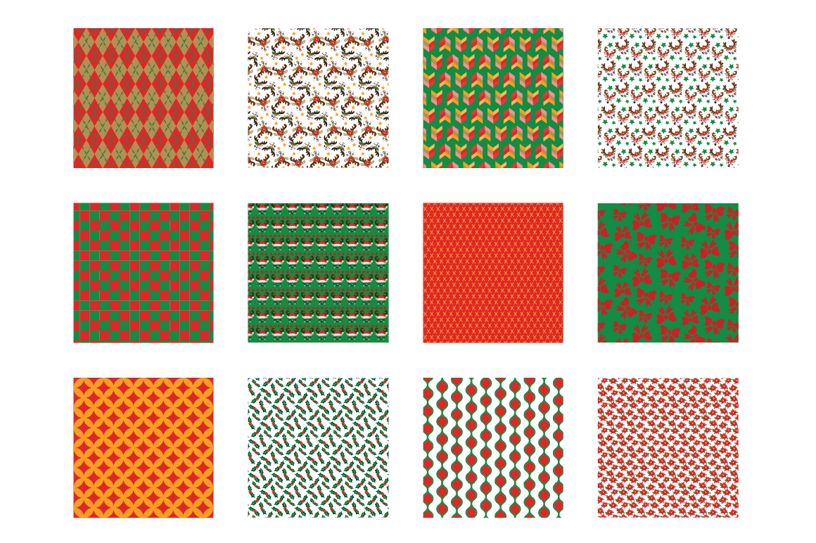 Reindeer Icons Pattern collection, vector ai, example image 2