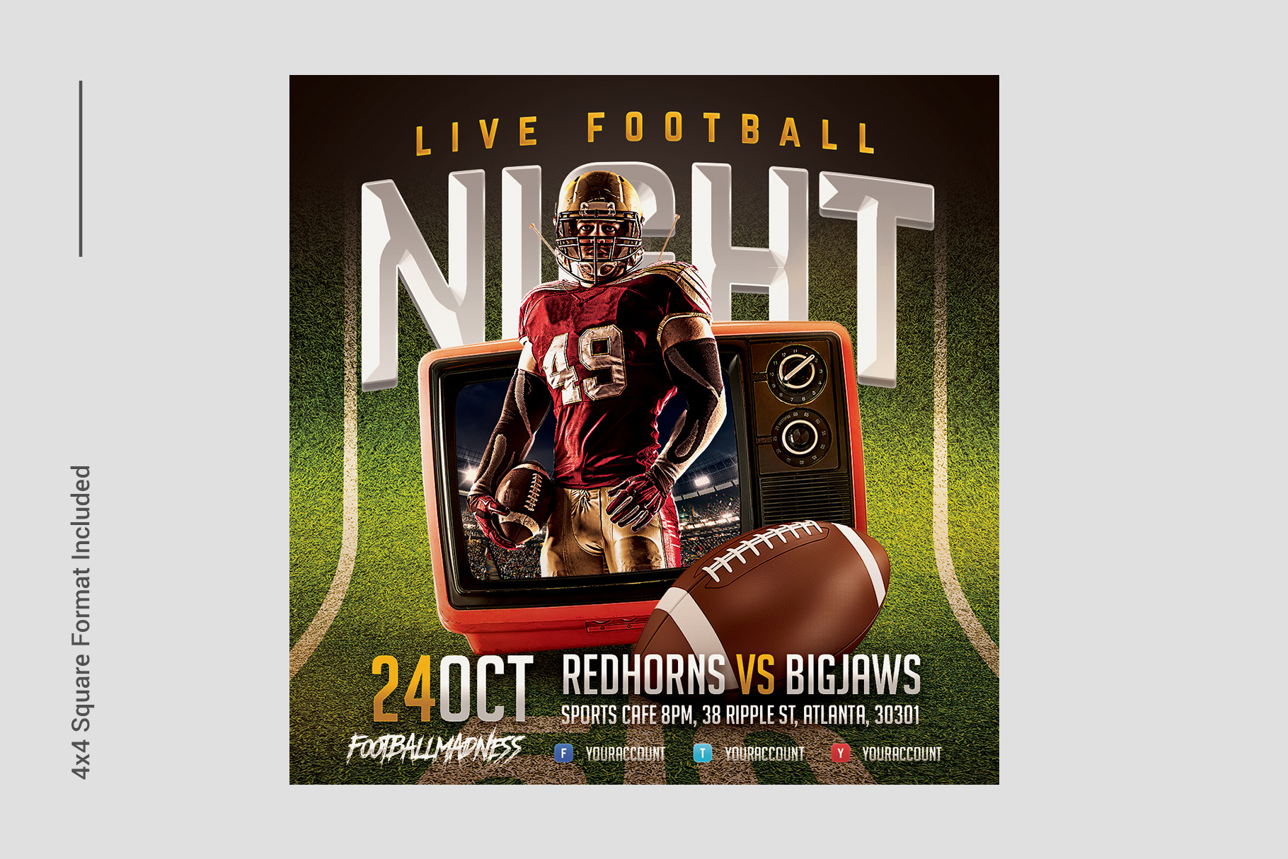 Live Football Flyer Template example image 5