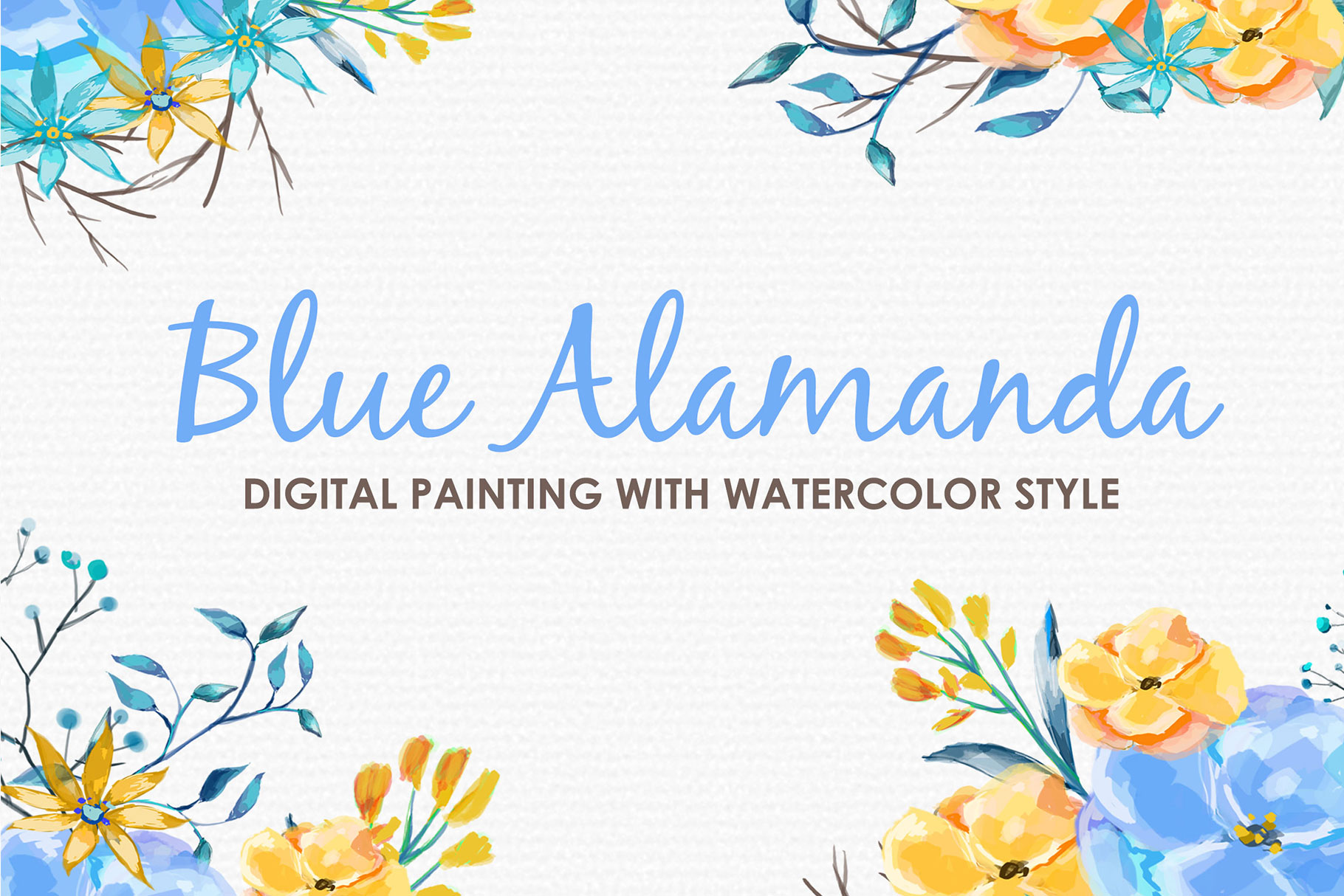 Blue Alamanda - Watercolor Floral Flower Style Clipart example image 1
