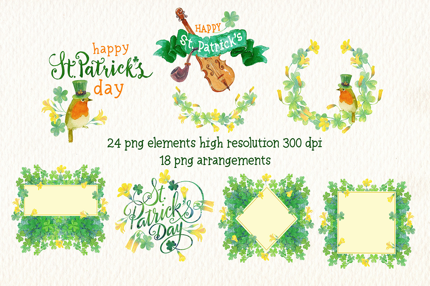 st. Patricks day watercolor clipart example image 3