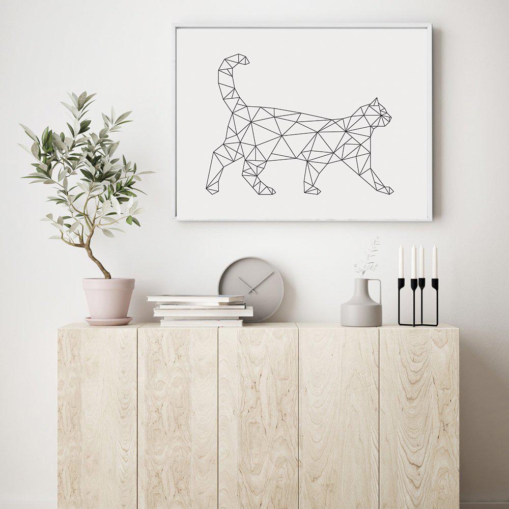 Geometric Cat Print, Minimalist Wall Art Download example image 4