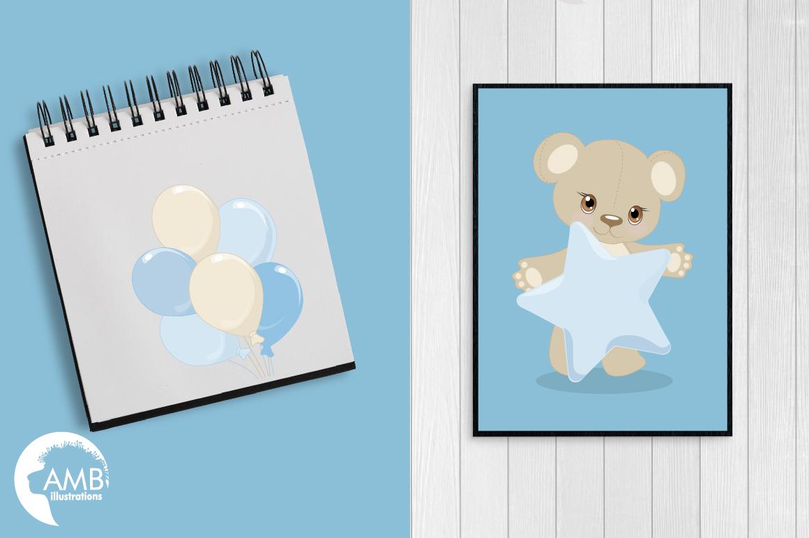 Teddy bear, nursery, baby boy, baby blue bear, clipart, graphics, llustrations AMB-1460 example image 5