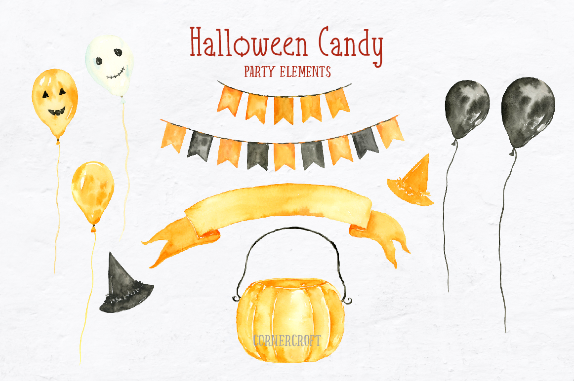 Watercolor Halloween Candy example image 4