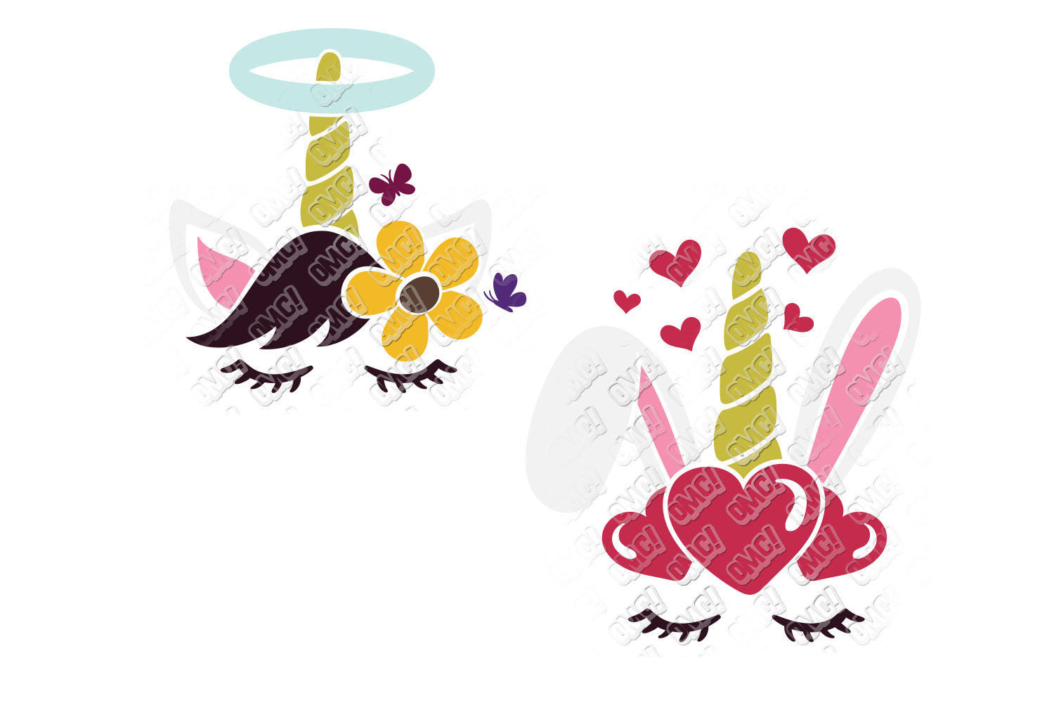 Unicorn Easter Bunny SVG in SVG, DXF, EPS, PNG, JPG example image 3