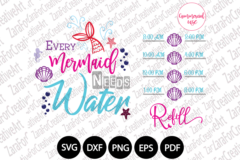Mermaid water tracker svg example image 1