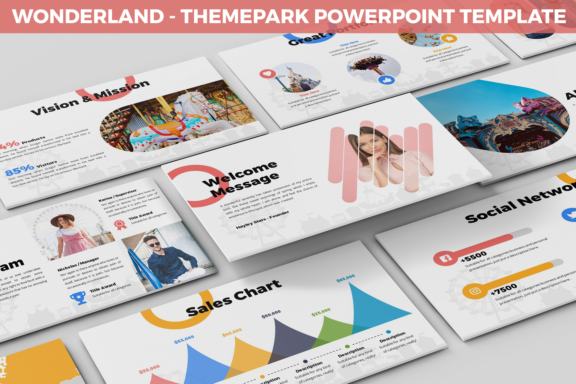 Wonderland - Theme Park Powerpoint Template example image 1
