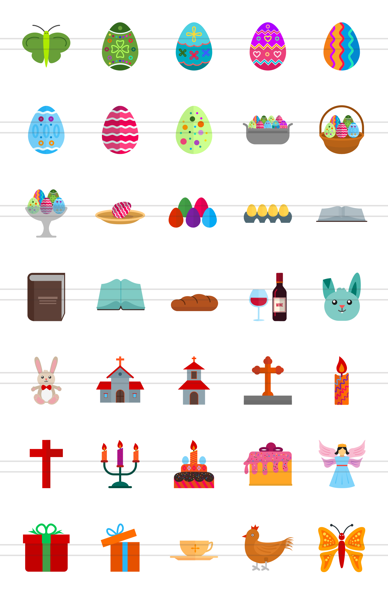 35 Easter Flat Multicolor Icons example image 2
