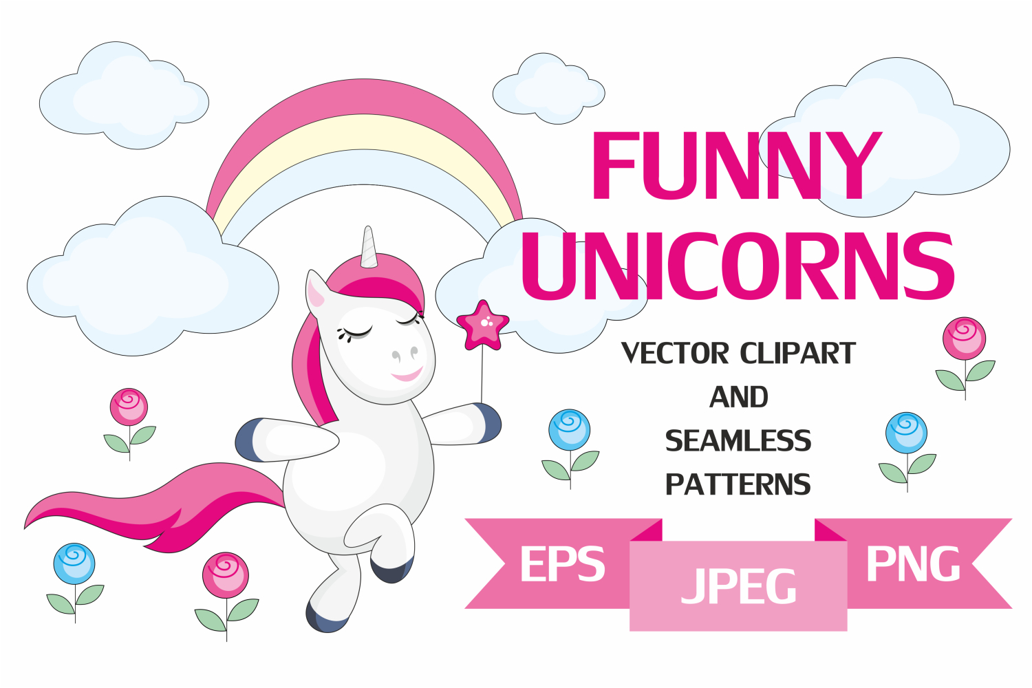Funny unicorns. Vector clipart and seamless patterns. example image 1