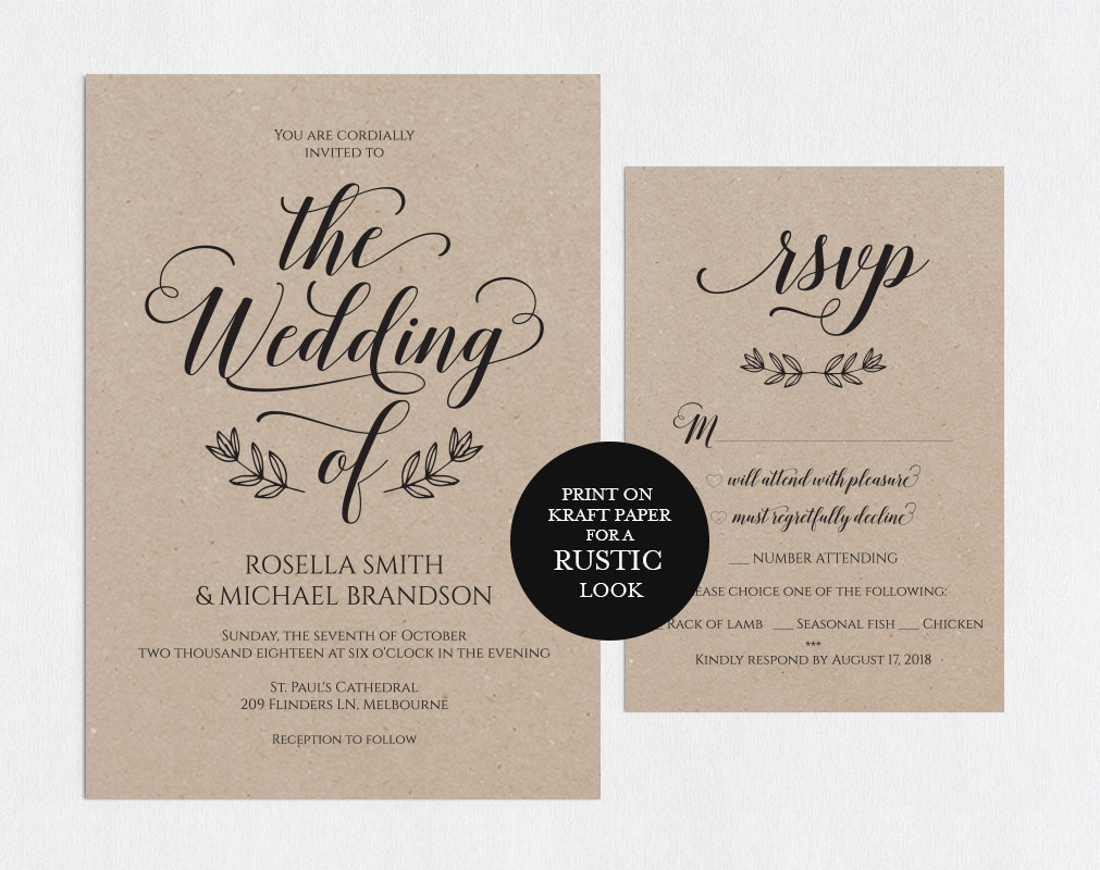Wedding invitation set portrait, TOS_5 example image 2