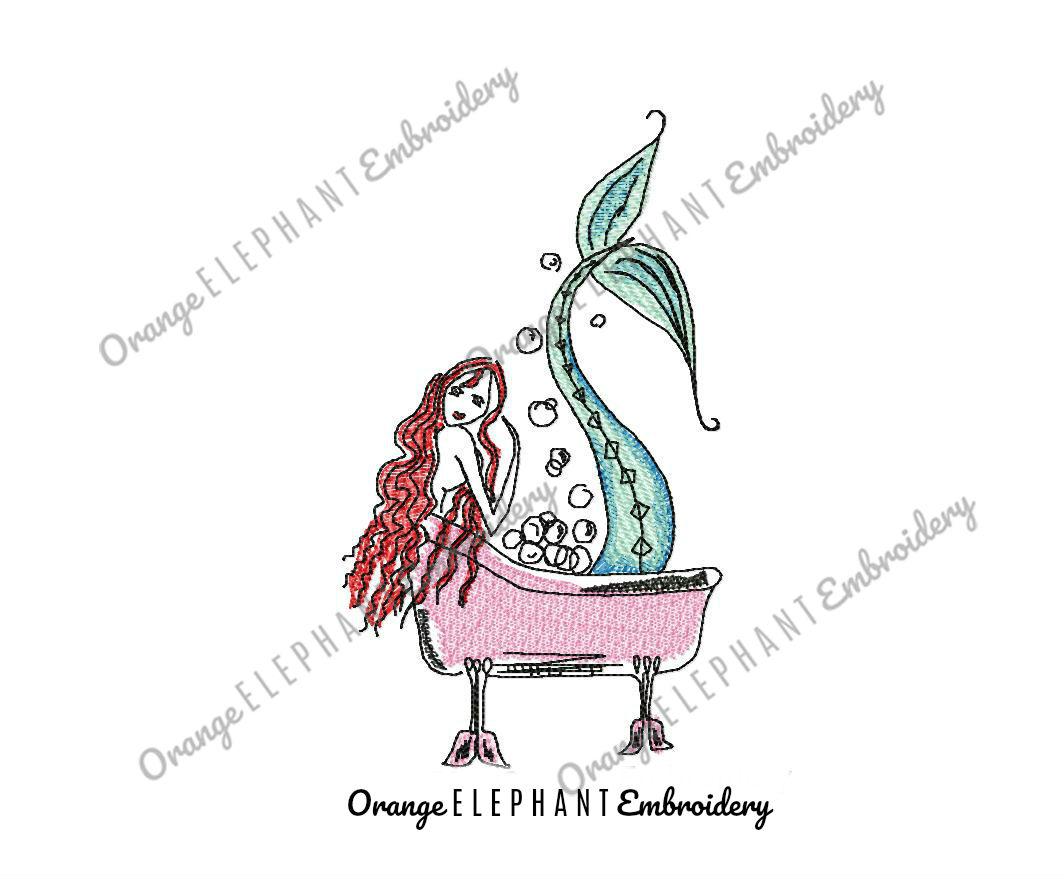 Mermaid Tub Hand Drawn Unique Urban Machine Embroidery Design digital File example image 1