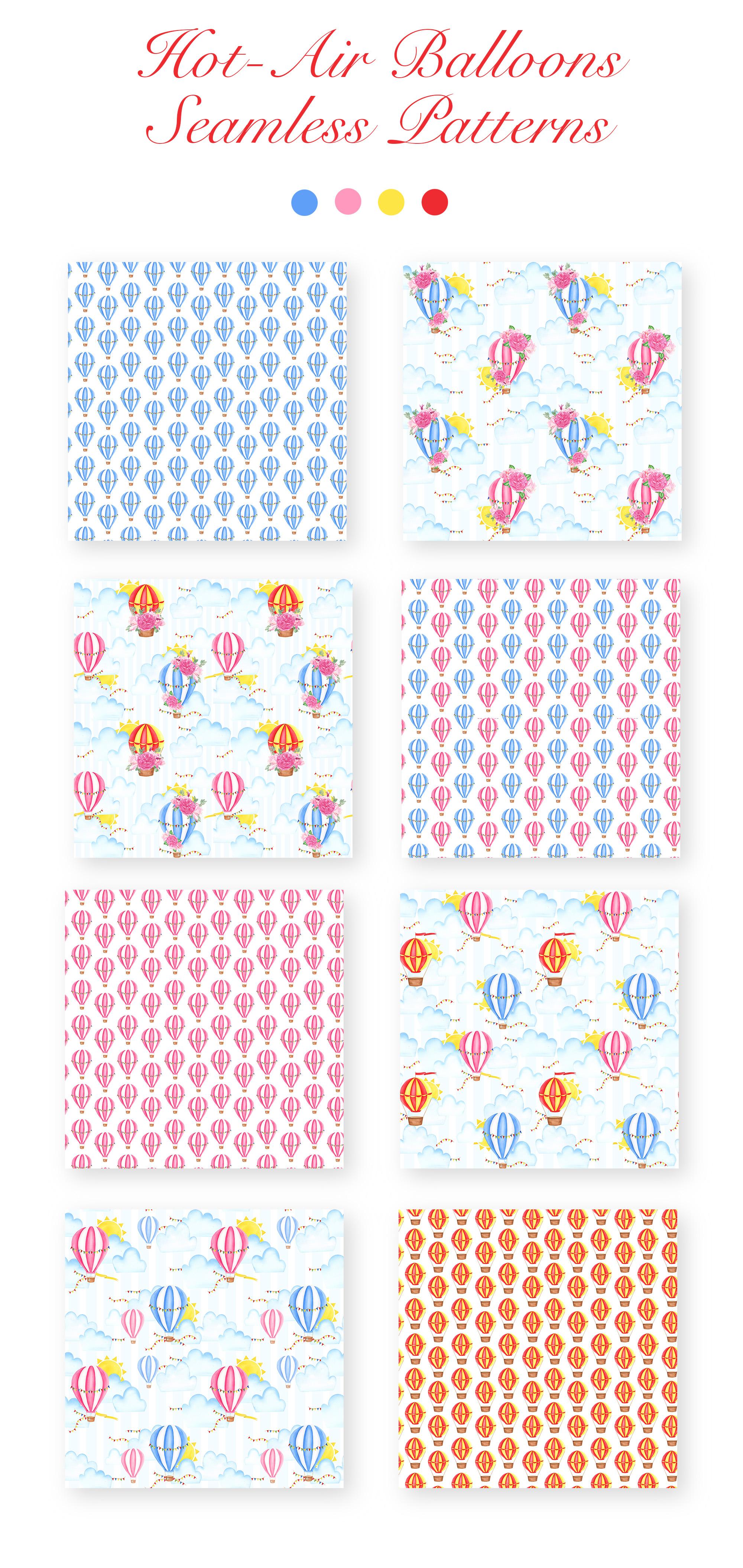 Watercolor Hot-Air Balloons Patterns example image 2