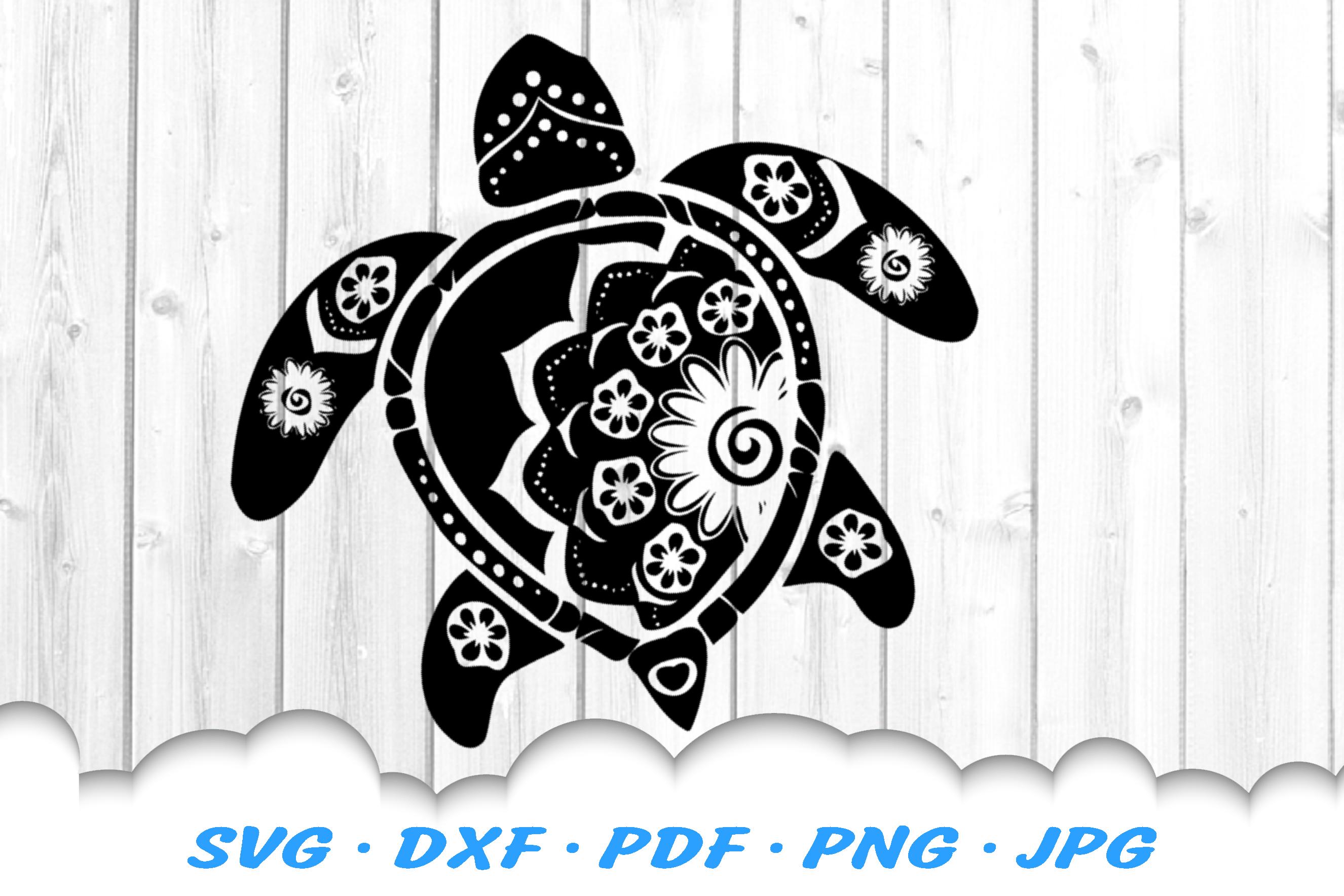 Mandala Floral Sea Turtle SVG DXF Cut Files example image 2