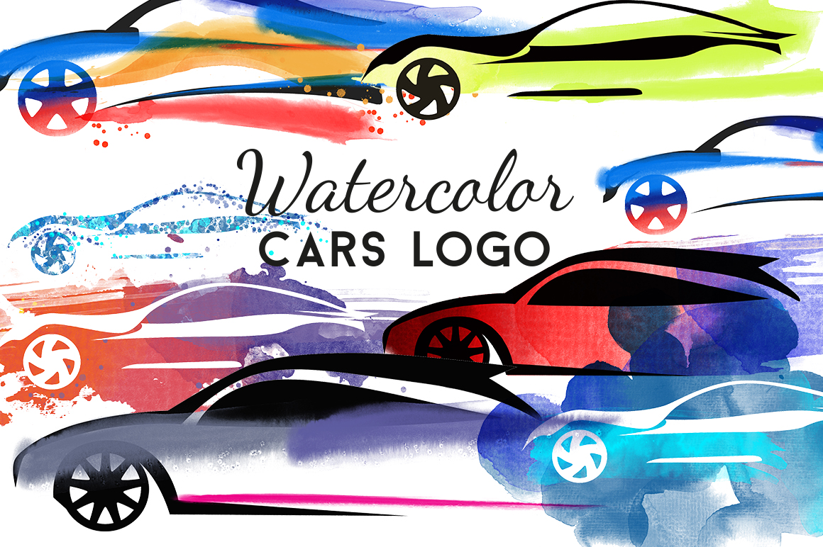 Watercolor cars logo example image 1