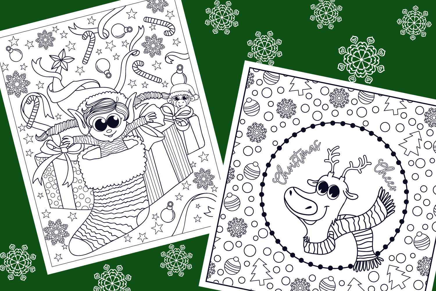 Christmas Coloring Pages- 9 vector items example image 5