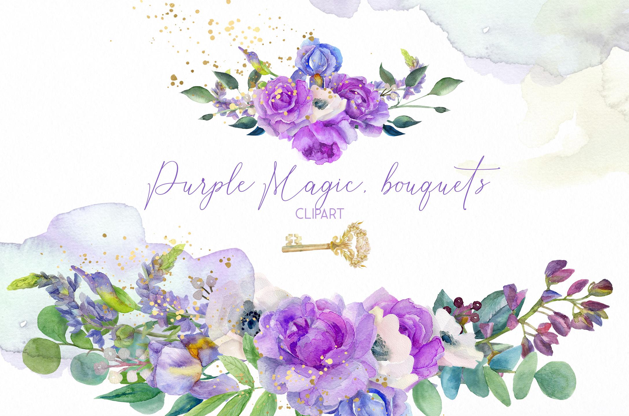 Watercolor purple bouquets clipart wedding arrangement example image 4