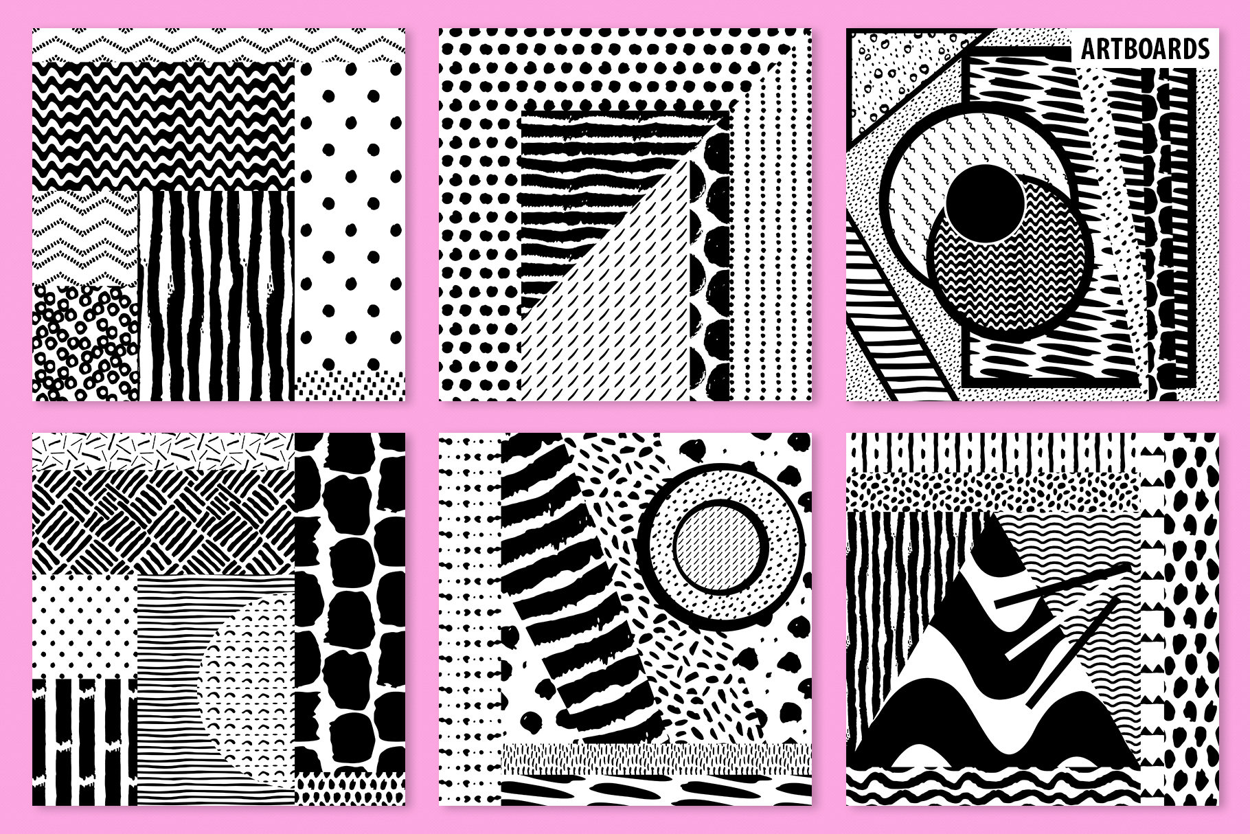 Abstract Brushstroke Ink Patterns, Artboards & Elements example image 9