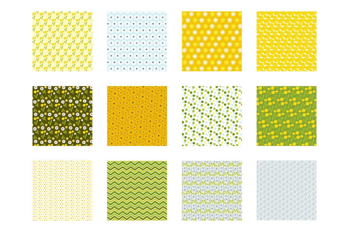 Dandelion Field Pattern collection, vector ai, eps and jpeg example image 2