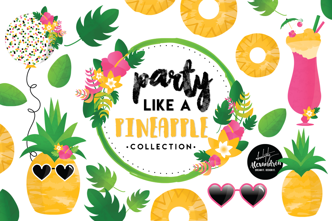 Party Like A Pineapple Clipart Graphics & Digital Paper Patterns Bundle example image 1