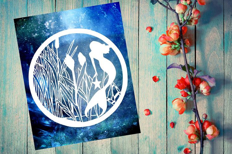 Mermaid Papercut Template example image 1