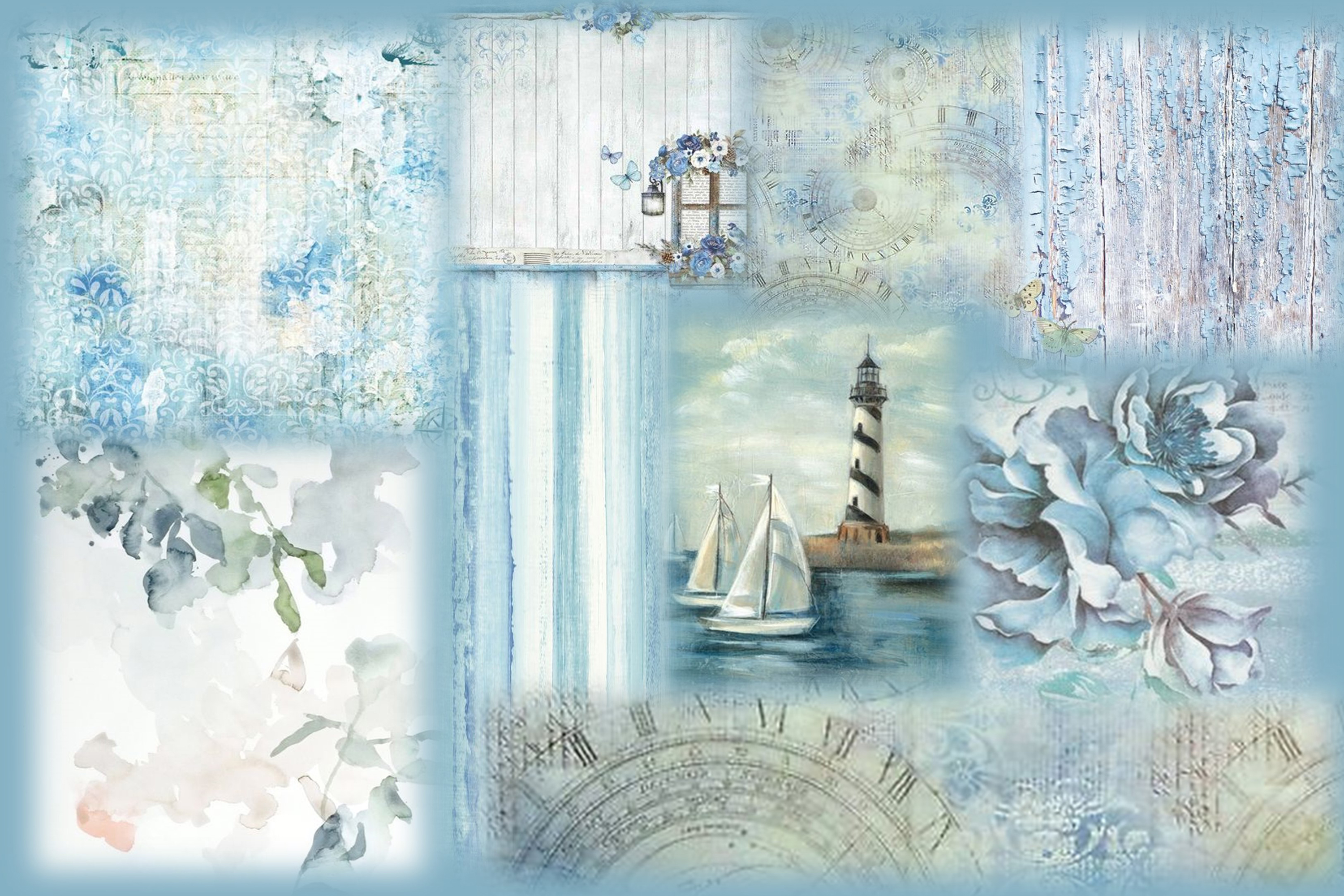 8 Nautical Collage Sheets 8.5 x 11 inches. JPEG and PDF example image 2