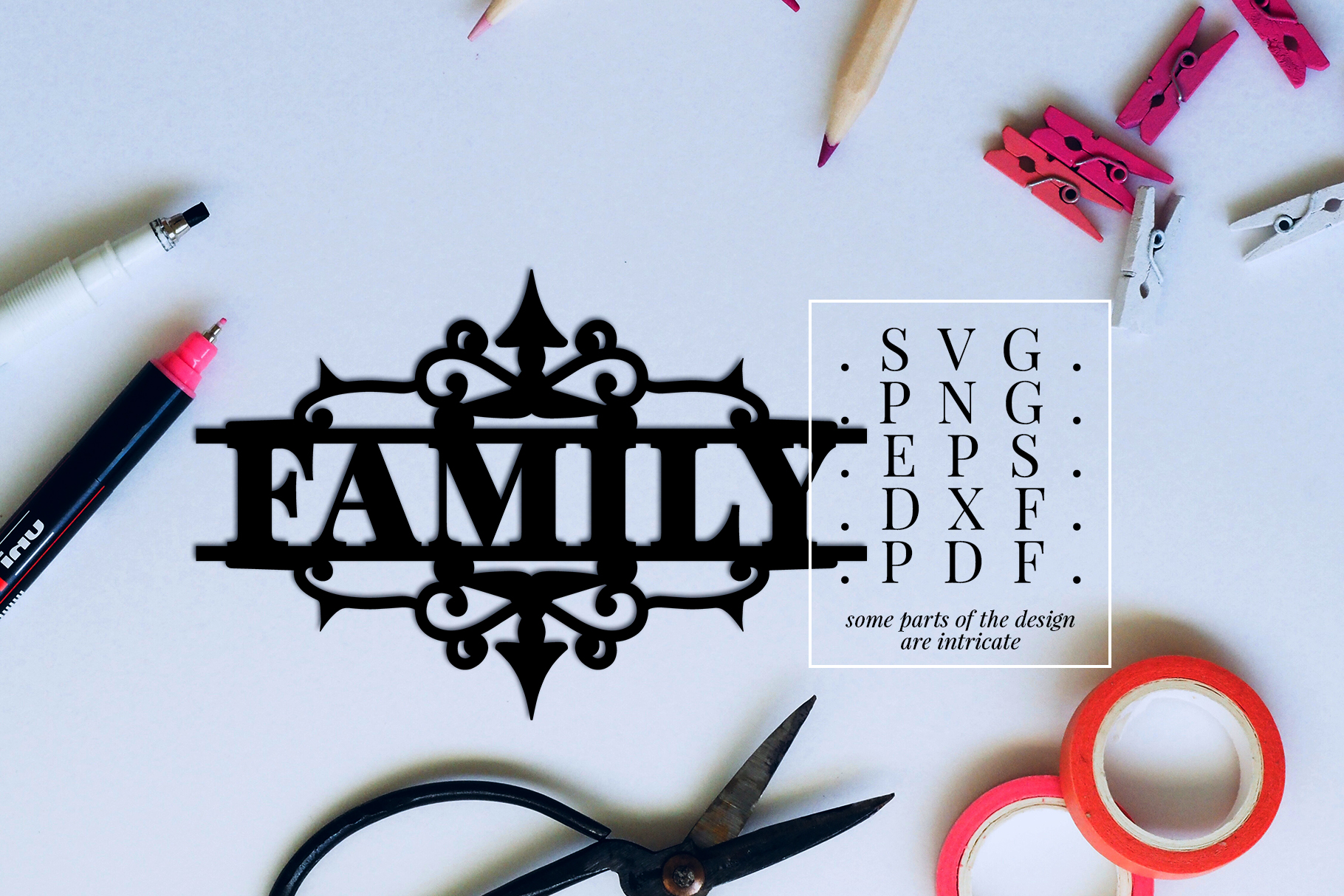 Family Papercut Template, Housewarming Cut File, SVG, DXF example image 2