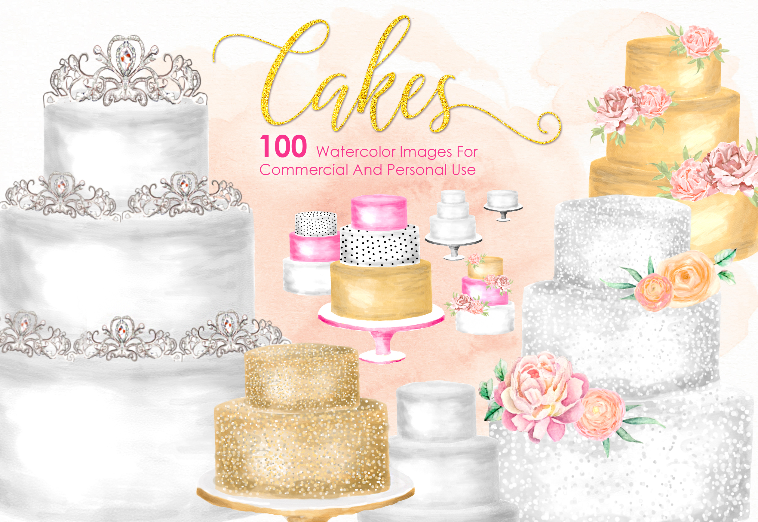 100 CAKES Watercolor Cakes Bundle Pastry Cooking Kitchen example image 1