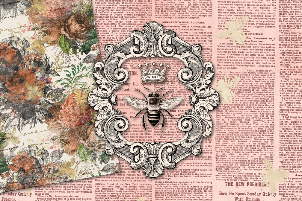 Vintage Honey Bee Digital Paper example image 3
