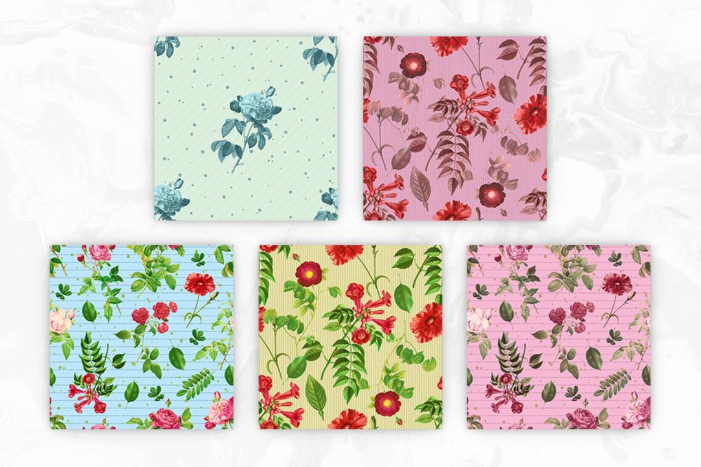 Vintage Flowers Seamless Patterns example image 3