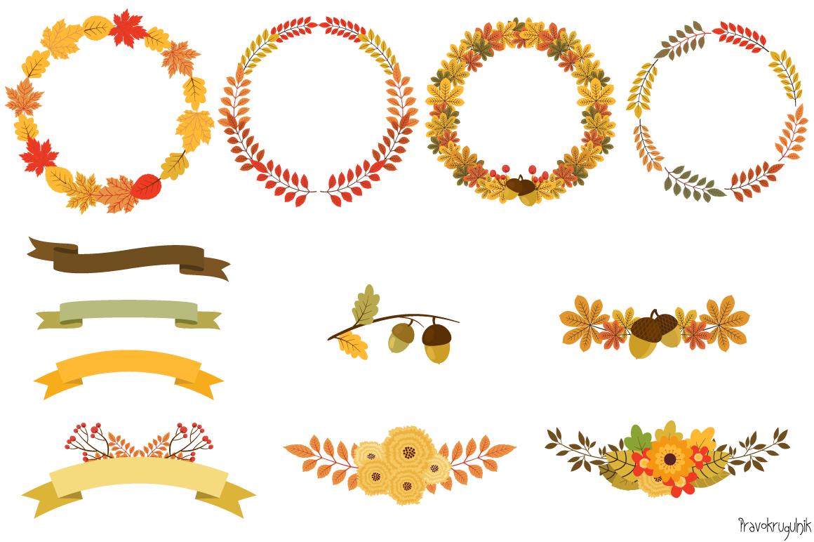 Autumn Wreaths Clipart, Fall Wreath Set example image 2