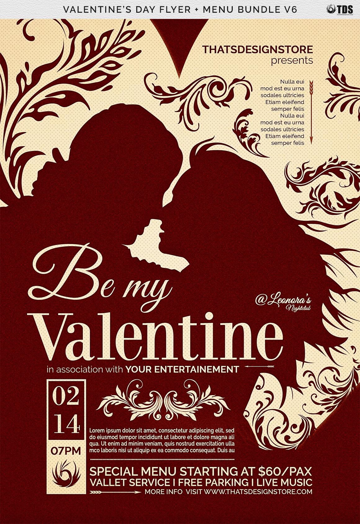 Valentines Day Flyer + Menu Bundle V6 example image 8