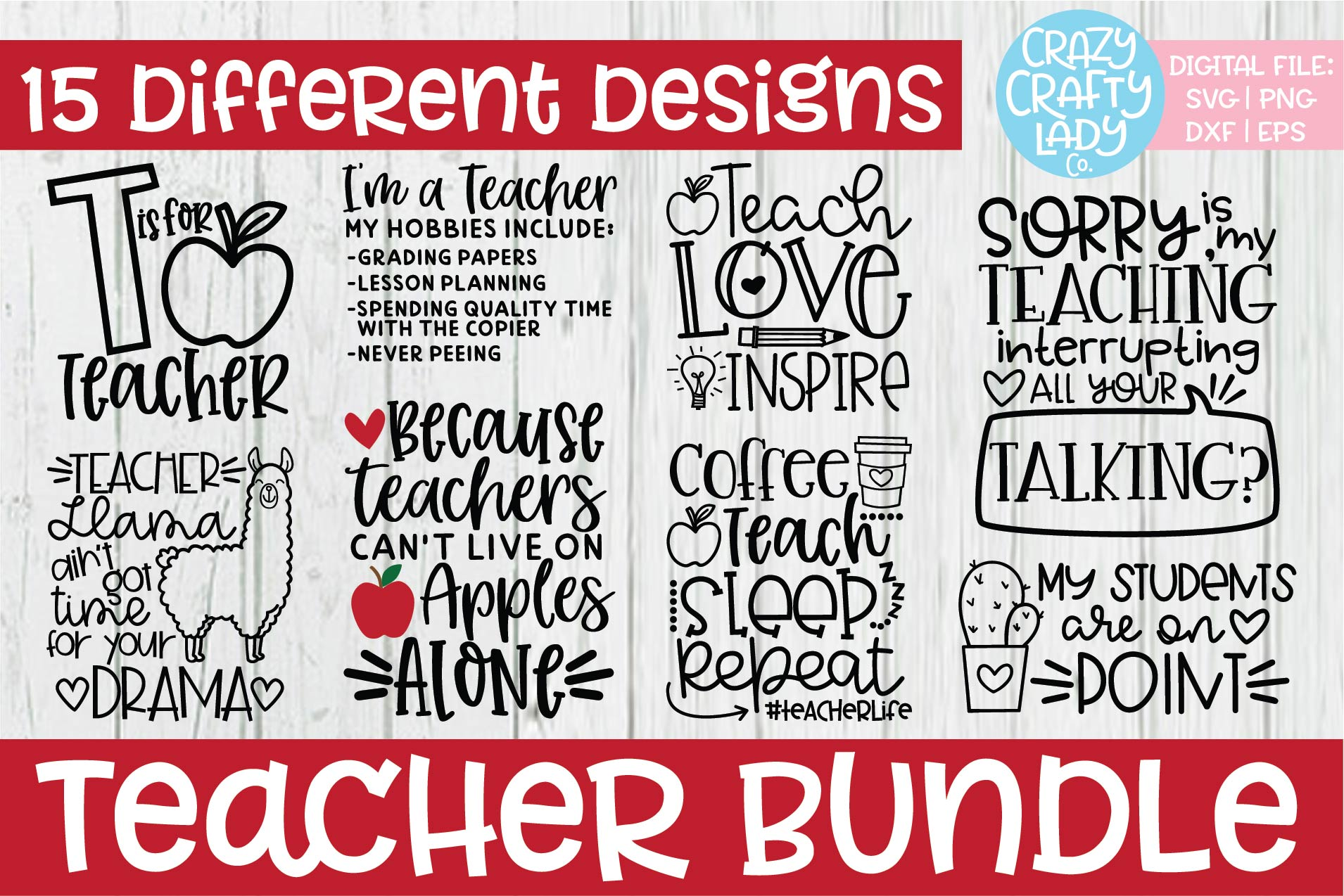 Teacher SVG DXF EPS PNG Cut File Bundle example image 2