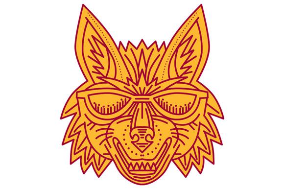 Coyote Head Sunglasses Smiling Mono Line example image 1