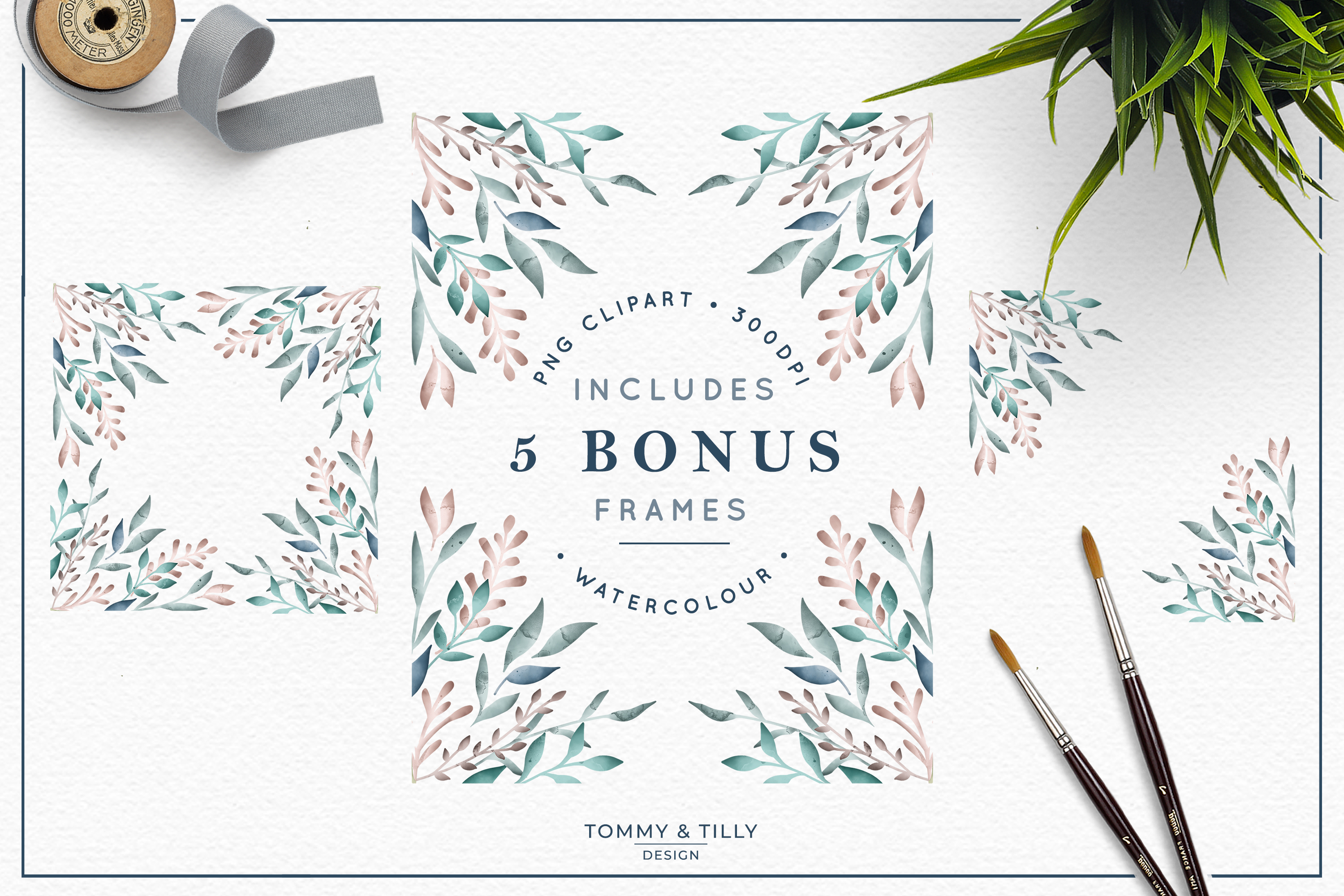 The Foliage Bundle Watercolour - Wedding Flower Clipart PNG example image 3
