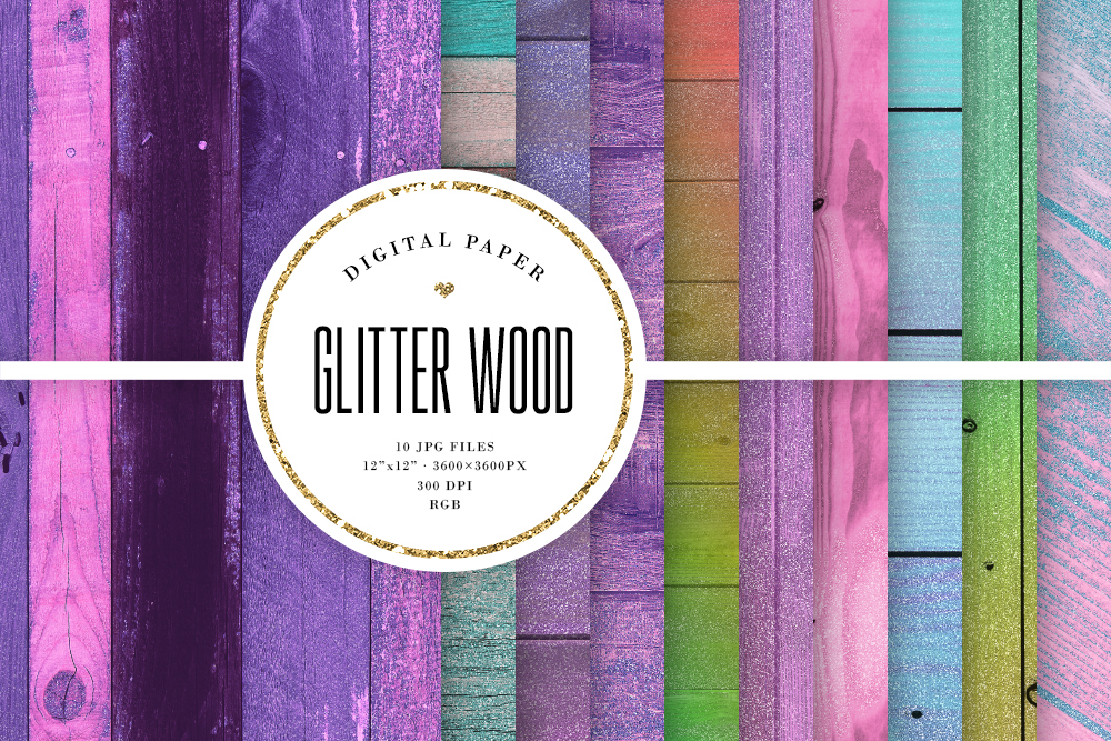 Glitter Wood Digital Paper - Colored Wood Textures example image 1
