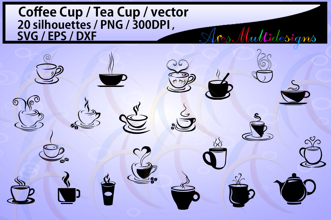 coffee svg / Tea mug / HQ / coffee cup silhouette svg / tea cup silhouette / SVG / PNg / EPS / Dxf files / vector / scrapbooking / coffee cup / mugs example image 1