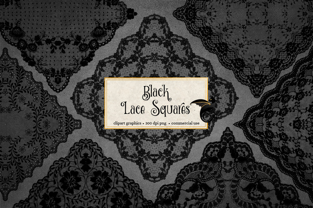 Black Lace Squares Overlays example image 2