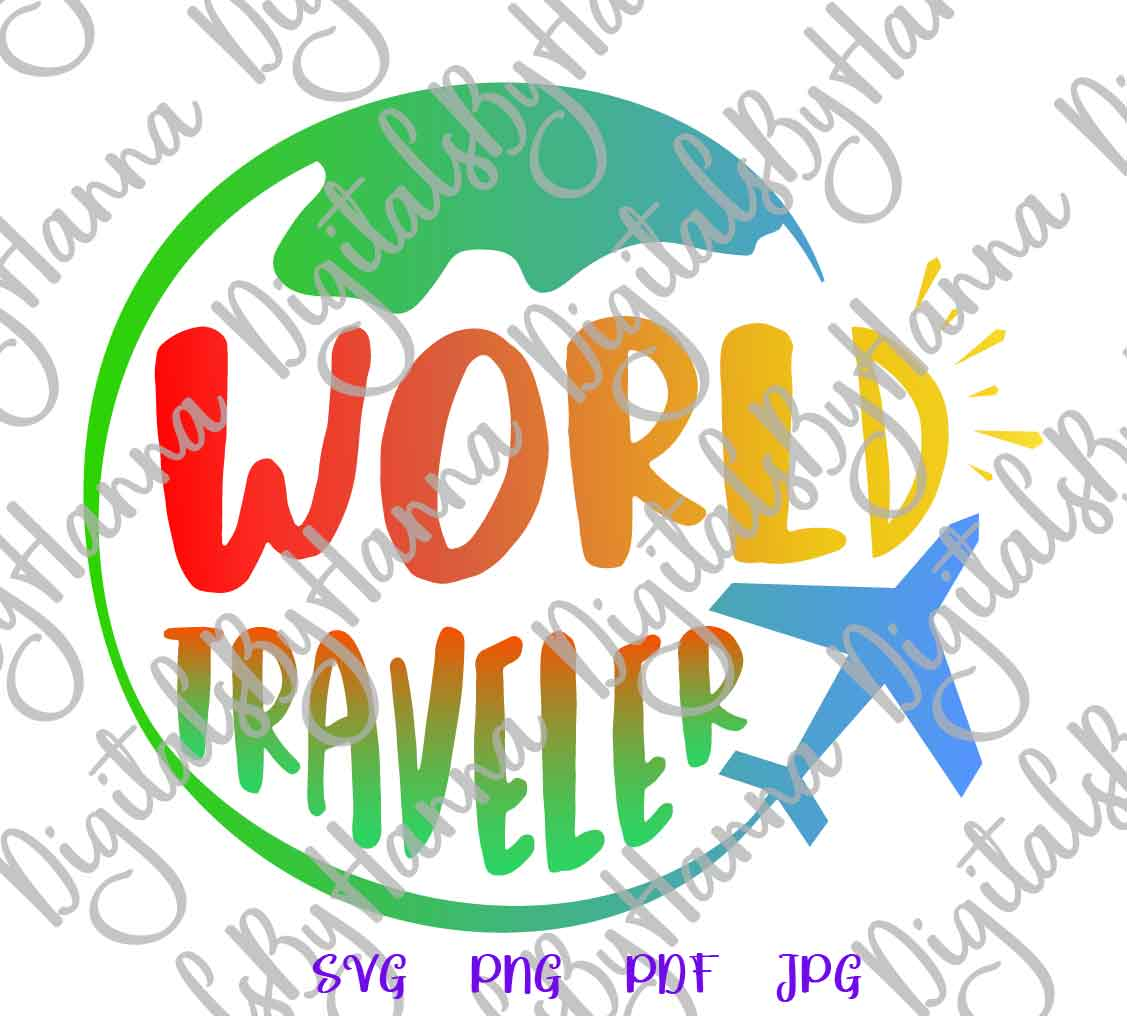 World Traveler Sign Print & Cut PNG SVG DXF PDF JPG Files example image 2