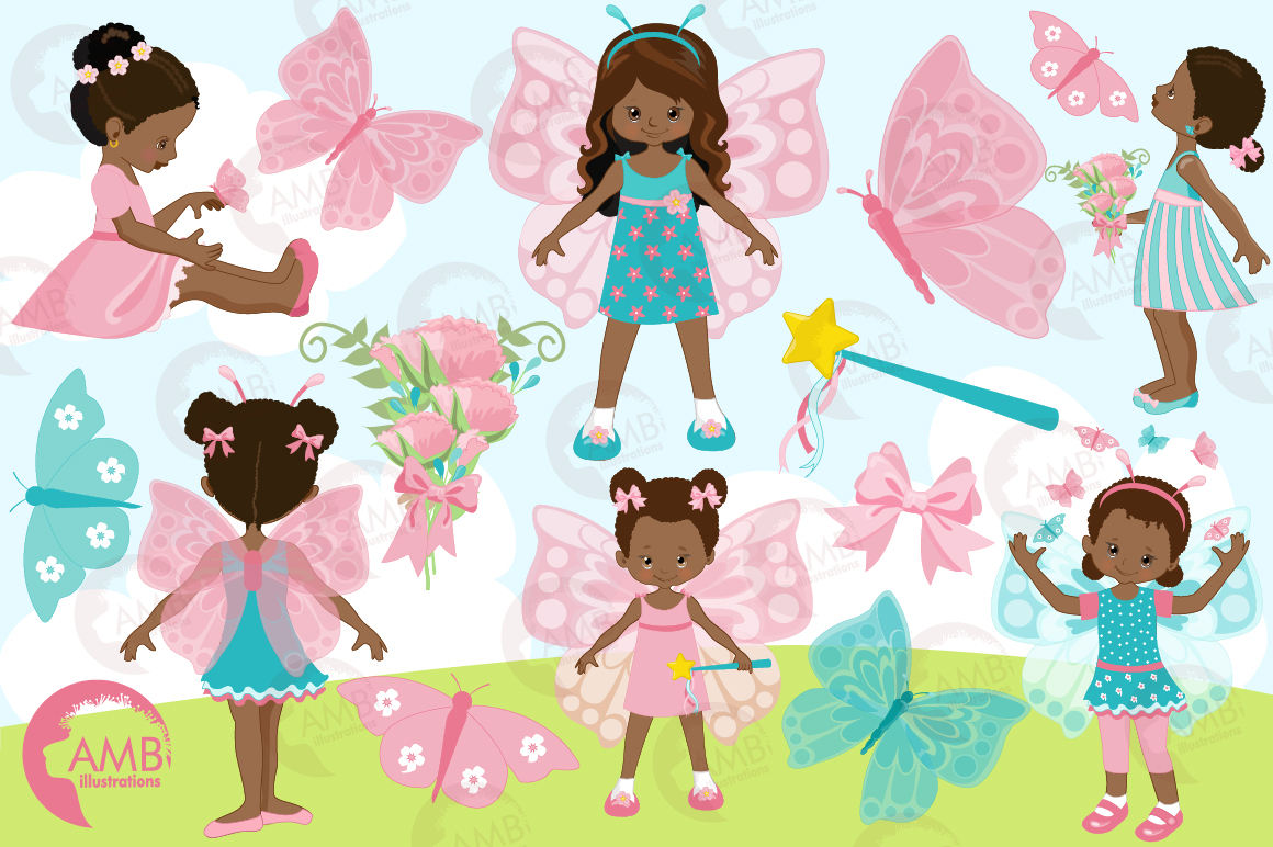 Fairy girls, butterfly girls clipart, graphics and illustrations AMB-1084 example image 5