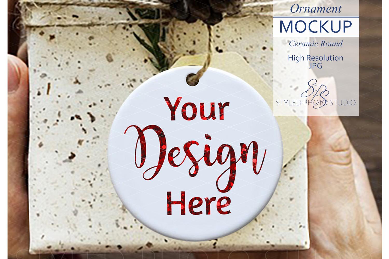 Ceramic Christmas Ornament Mockup Gift Box example image 1