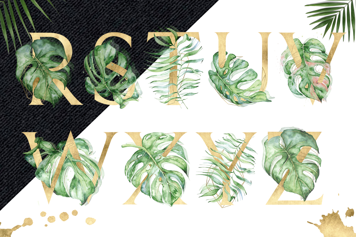 Gold Monstera - tropical leaves alphabet example image 4