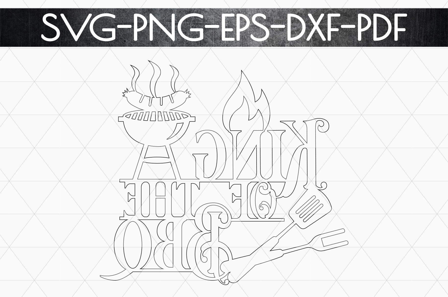 King Of The Bbq Sign Papercut Template, Summer Decor SVG DXF example image 4