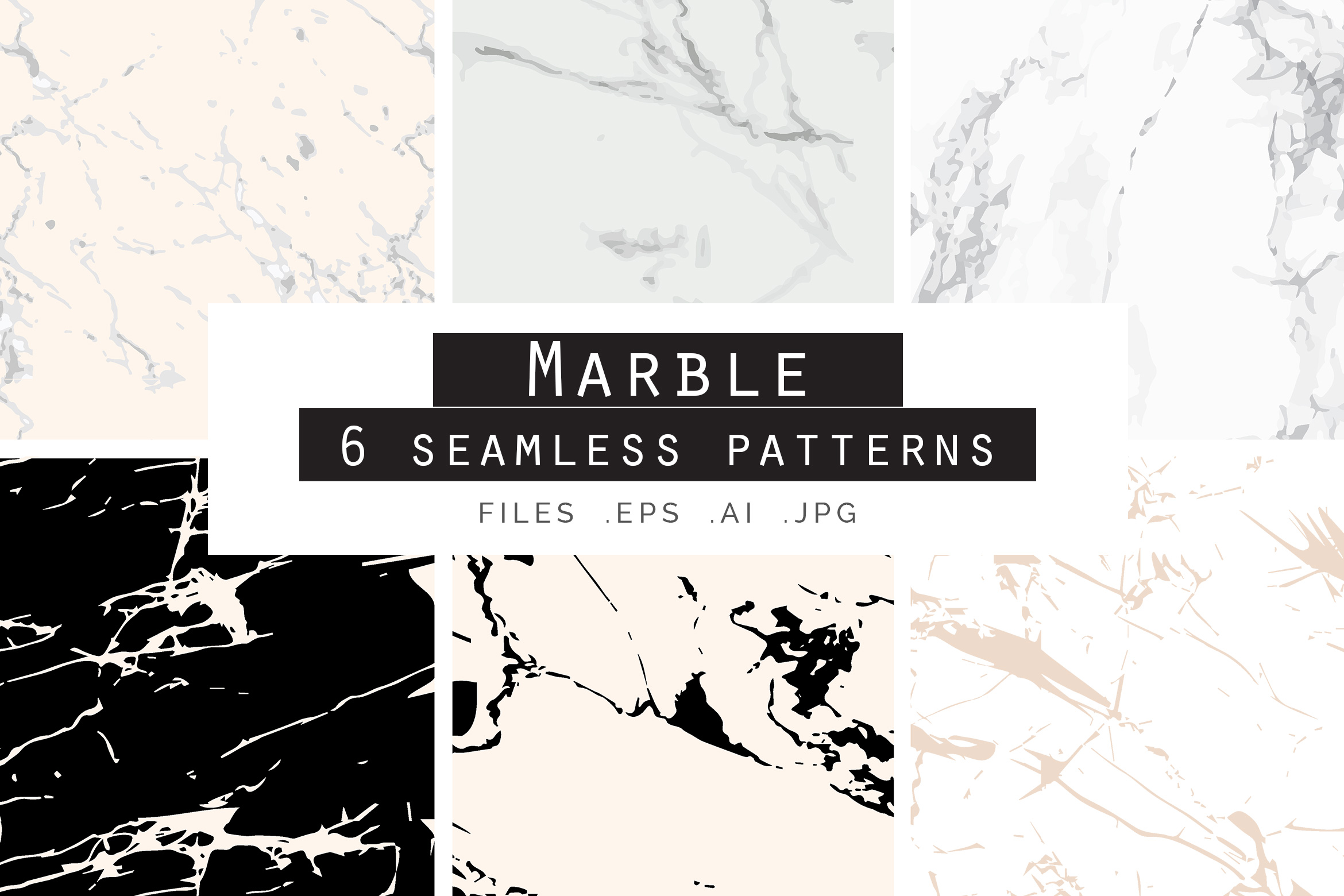 Marble Seamless Vector Patterns - 1 example image 1