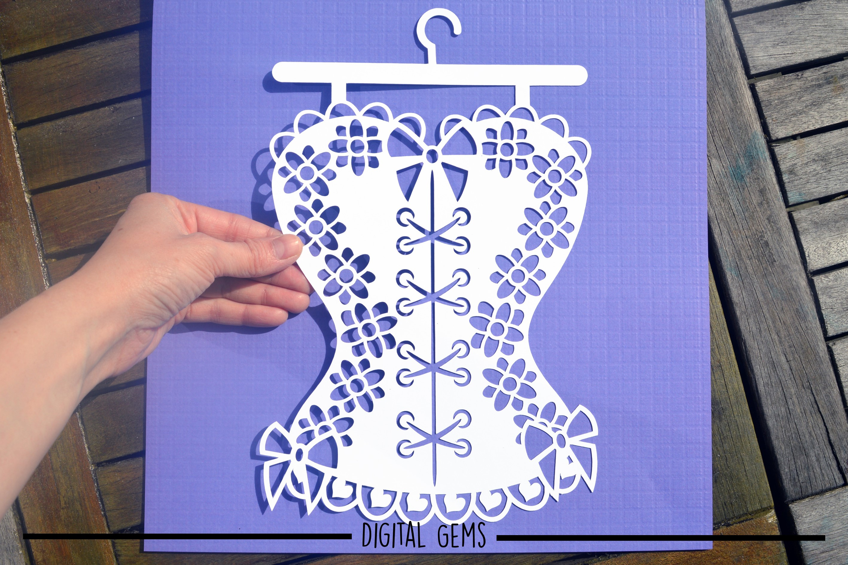 Corset paper cut design SVG / DXF / EPS / PNG files example image 6
