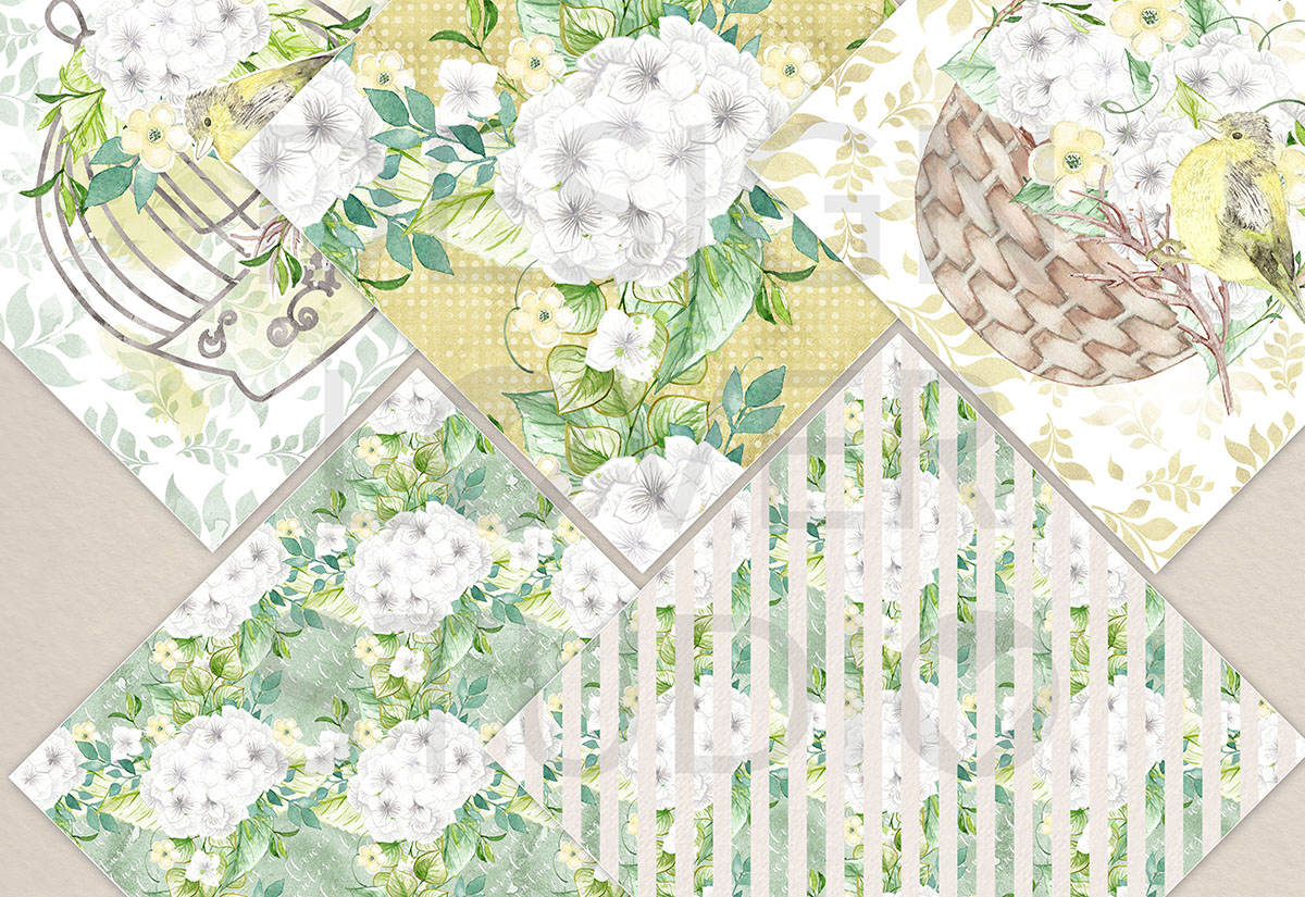 Watercolor White Hydrangea digital paper pack example image 2