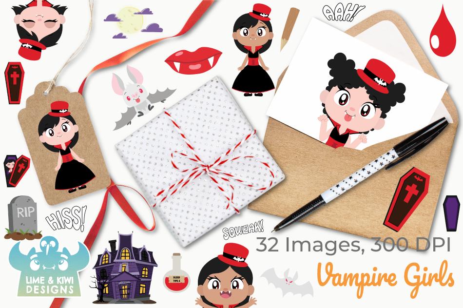 Vampire Girls Clipart, Instant Download Vector Art example image 4
