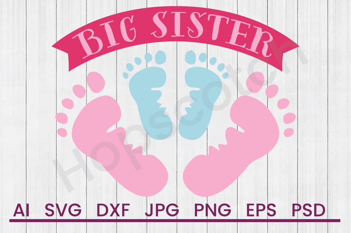 Footprints SVG, Big Sister SVG, DXF File, Cuttatable File example image 1