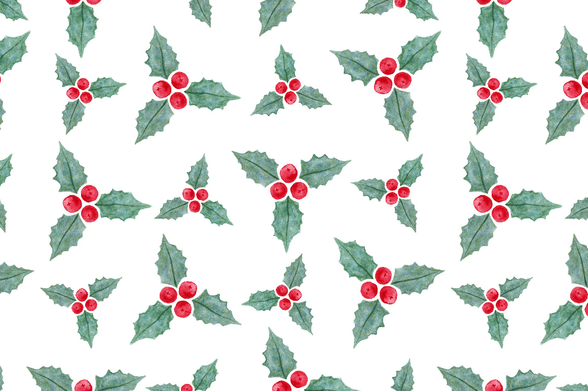 Christmas Watercolor art & patterns example image 3