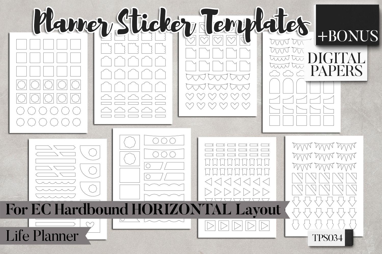 Planner sticker templates, Erin Condren Hardbound Horizontal example image 5
